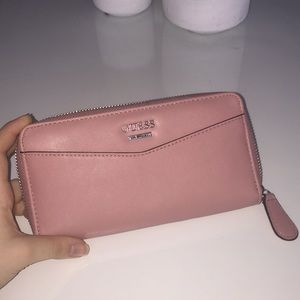 blush coloured guess wallet